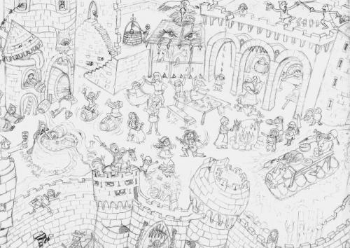 Medieval Festival sketch detail
